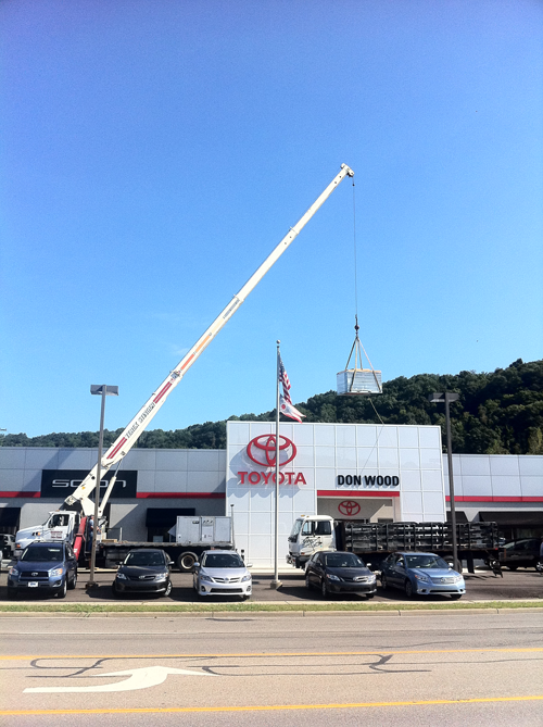 commercial hvac unit and crane in athens, ohio